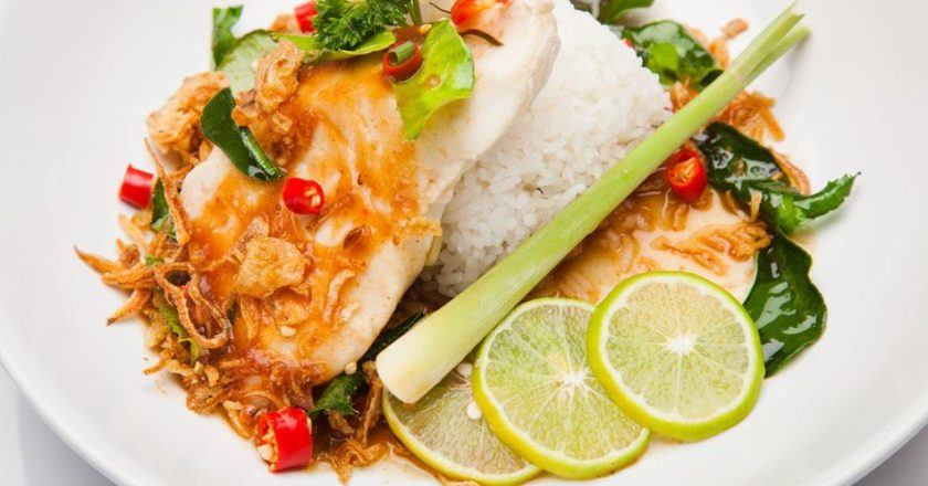 A Flavoursome Chilli Lime Fish on a Bed of Rice